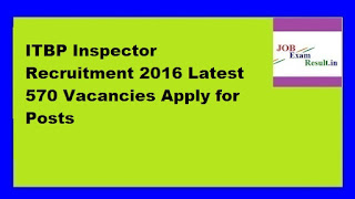 ITBP Inspector Recruitment 2016 Latest 570 Vacancies Apply for Posts