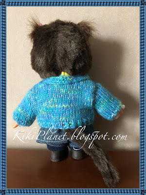 kiki monchhichi handmade fait main vêtement knitting tricot gilet jaune