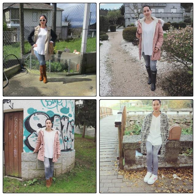 4 outfits con camisa blanca y legging