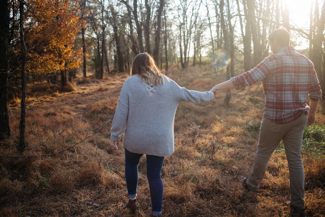 Promises for my Brother about marriage. Engagement picture. Future bride and groom. Walking in the woods.