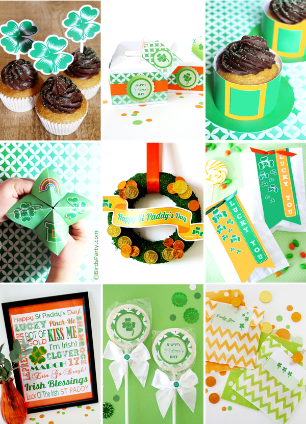 St Patrick's Day | Bumper Pack of Free Party Printables - BirdsParty.com