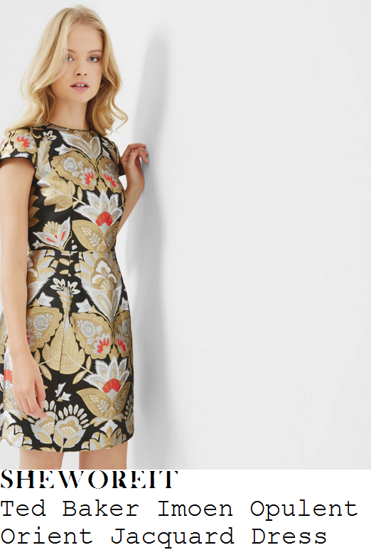 lorraine-kelly-ted-baker-imoen-black-silver-gold-orange-and-white-oriental-print-jacquard-cap-sleeve-high-waisted-a-line-shift-dress