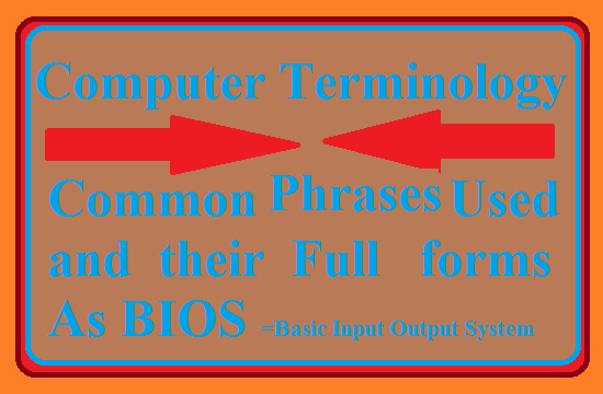 Computer Terminology-Commonly used abbreviations and their Full forms