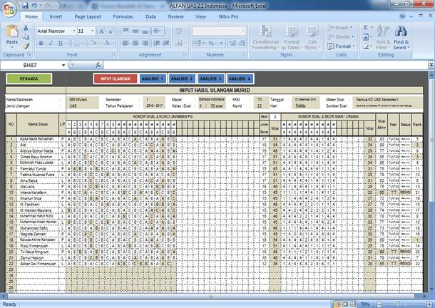 Aplikasi Analisis Kuantitatif Soal Ulangan Format Microsoft Excel
