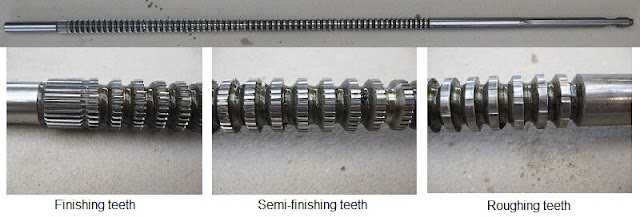 roughing and finishing teeth of broach