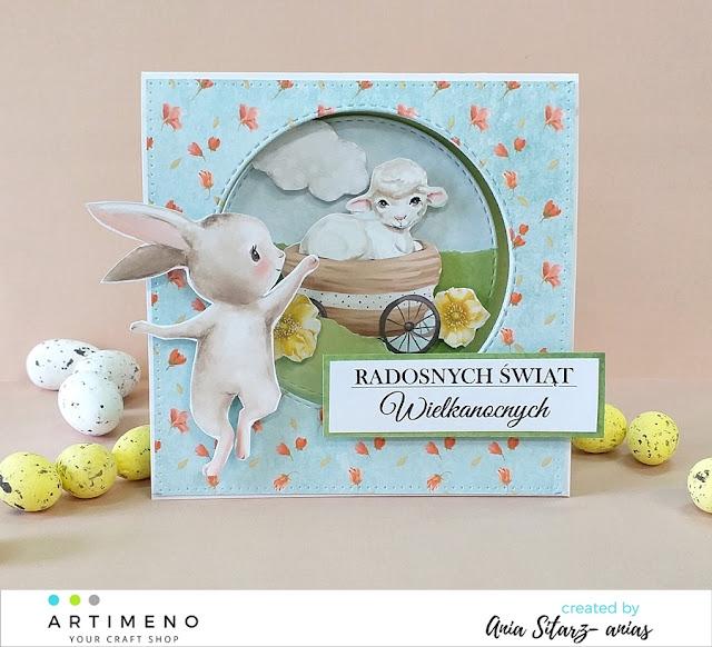 kartka dziecięca , zajączek, baranek, Wielkanoc