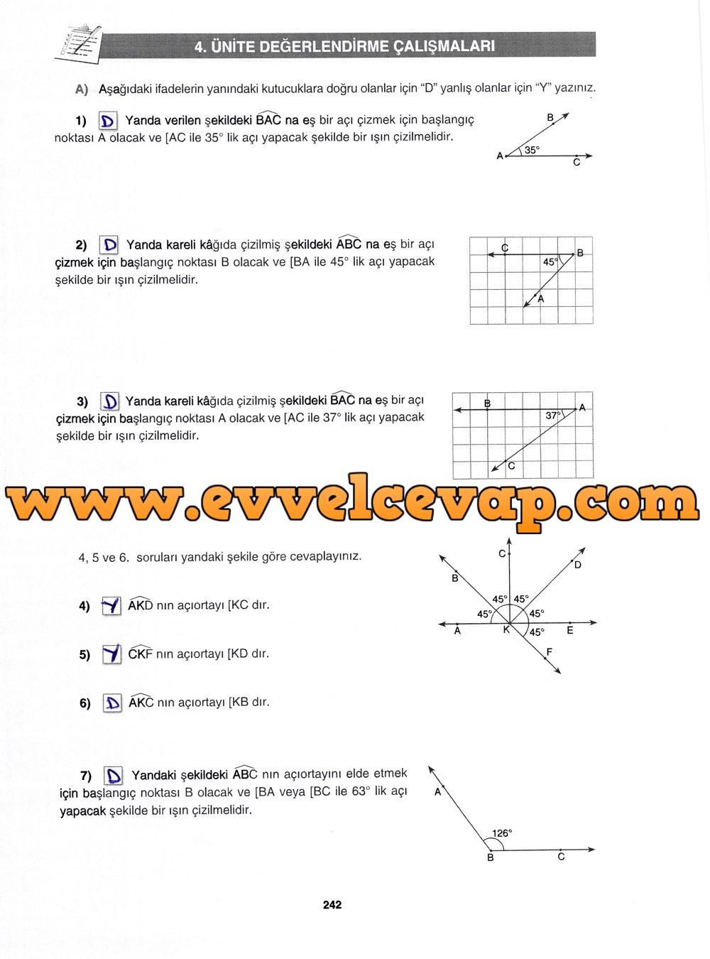 7. Sınıf Gizem Yayınları Matematik Ders Kitabı 242. Sayfa Cevapları 4.Ünite Değerlendirme Çalışmaları