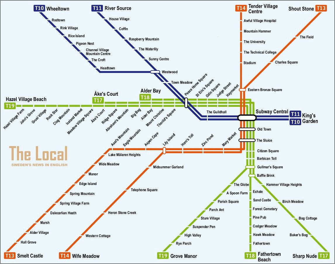 Stockholm metro stop names translated to English