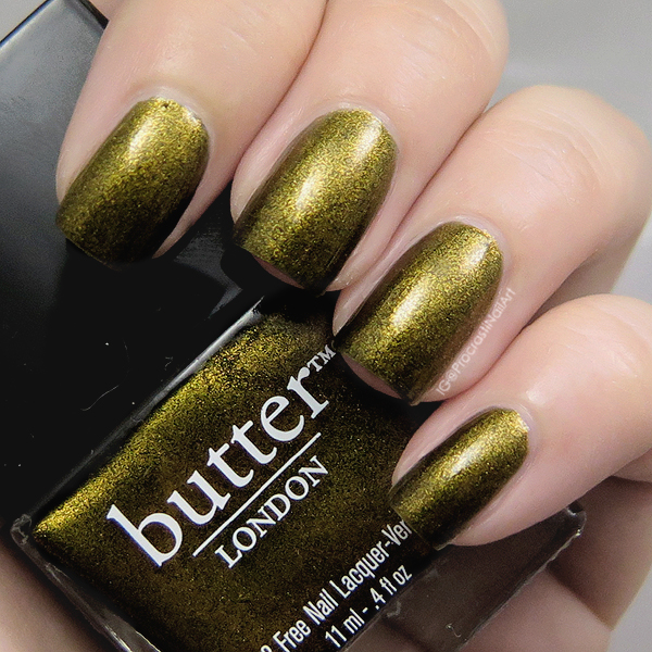 Deep olive green metallic shimmer nail polish