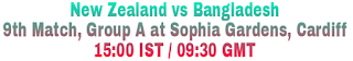New Zealand vs Bangladesh 9th Match, Group A at Sophia Gardens, Cardiff 15:00 IST / 09:30 GMT