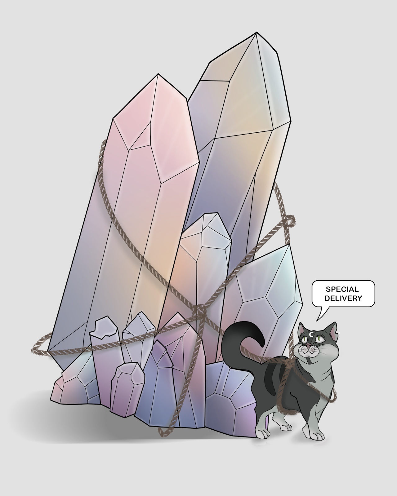cat crystal drawing illustration
