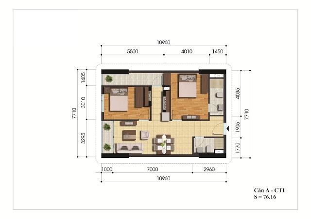 Mặt bằng căn hộ A - CT1 Gelexia Riverside