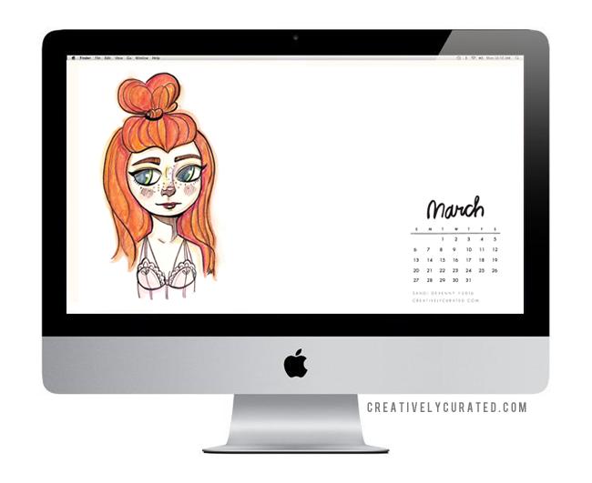 Free Mini Pocket Calendar via CreativelyCurated.com © Sandi Devenny #Free #Desktop #Download #art #sandidoodles