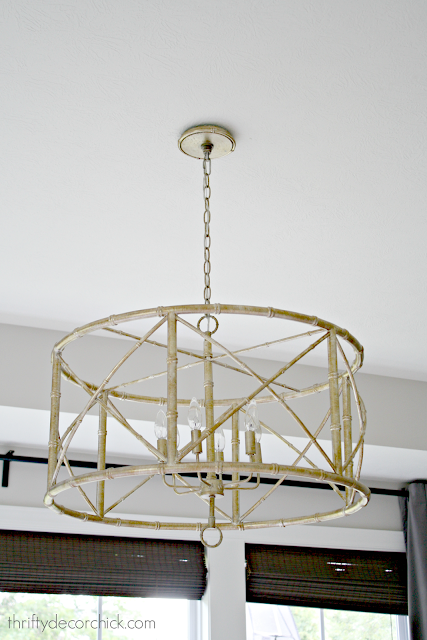 Gold bamboo chandelier