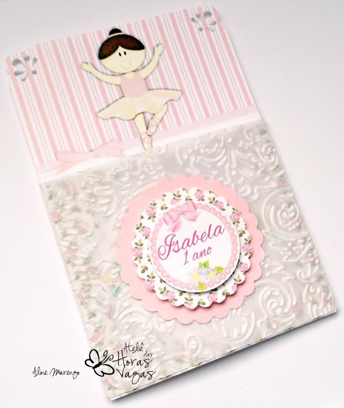 convite artesanal aniversário infantil envelope vegetal texturizado bailarina floral jardim provençal rosa menina 1 aninho delicado