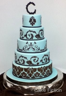 light blue and brown wedding cakes cake fiction blue and chocolate brown damask wedding cake 16845