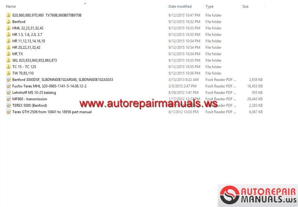 Terex hr 18 Parts manual