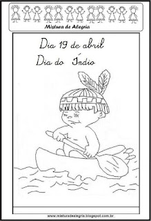 Desenho de índio para colorir