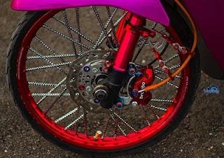 kaki kaki shockbreaker depan modifikasi roda motor