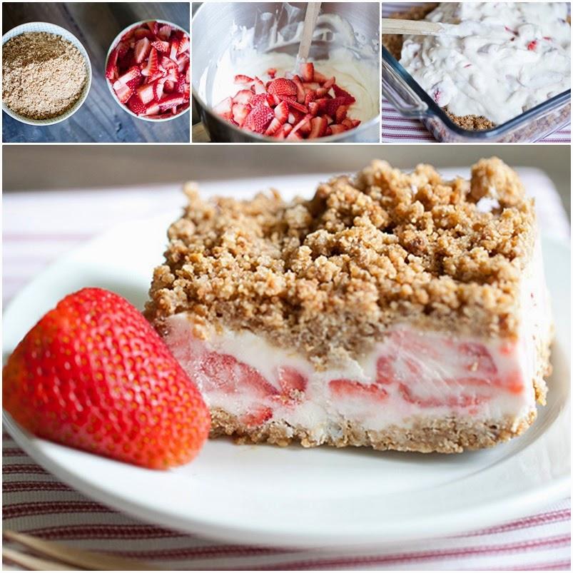 Frozen Strawberry Crunch Cake Recipe