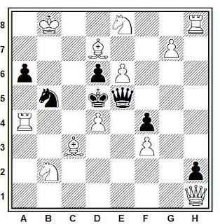 Problema ejercicio de ajedrez número 802: Mate en 2 de Efrén Petite (The Problemist, 1997-II)