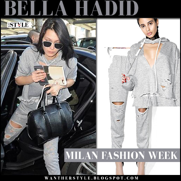 Bella Hadid in grey ripped sweatpants and grey ripped sweatshirt dolls kill what she wore milan fashion week style