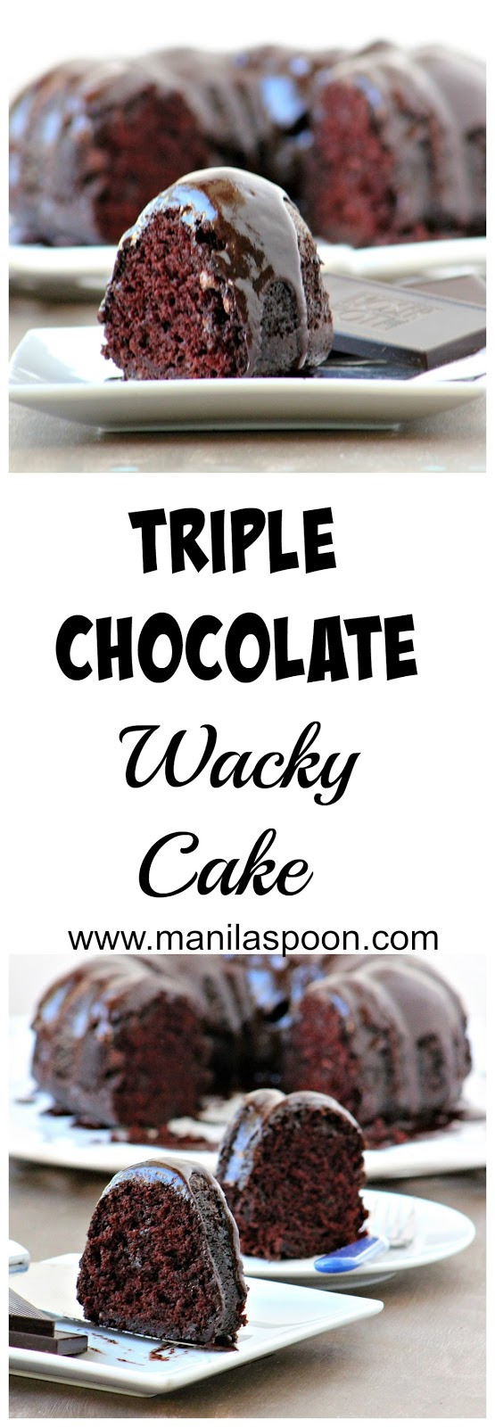 This version of the Depression (Wacky) cake is truly scrumptious - still an EGG-FREE and DAIRY-FREE cake batter but with triple the chocolate goodness! A very well-loved recipe, indeed!
