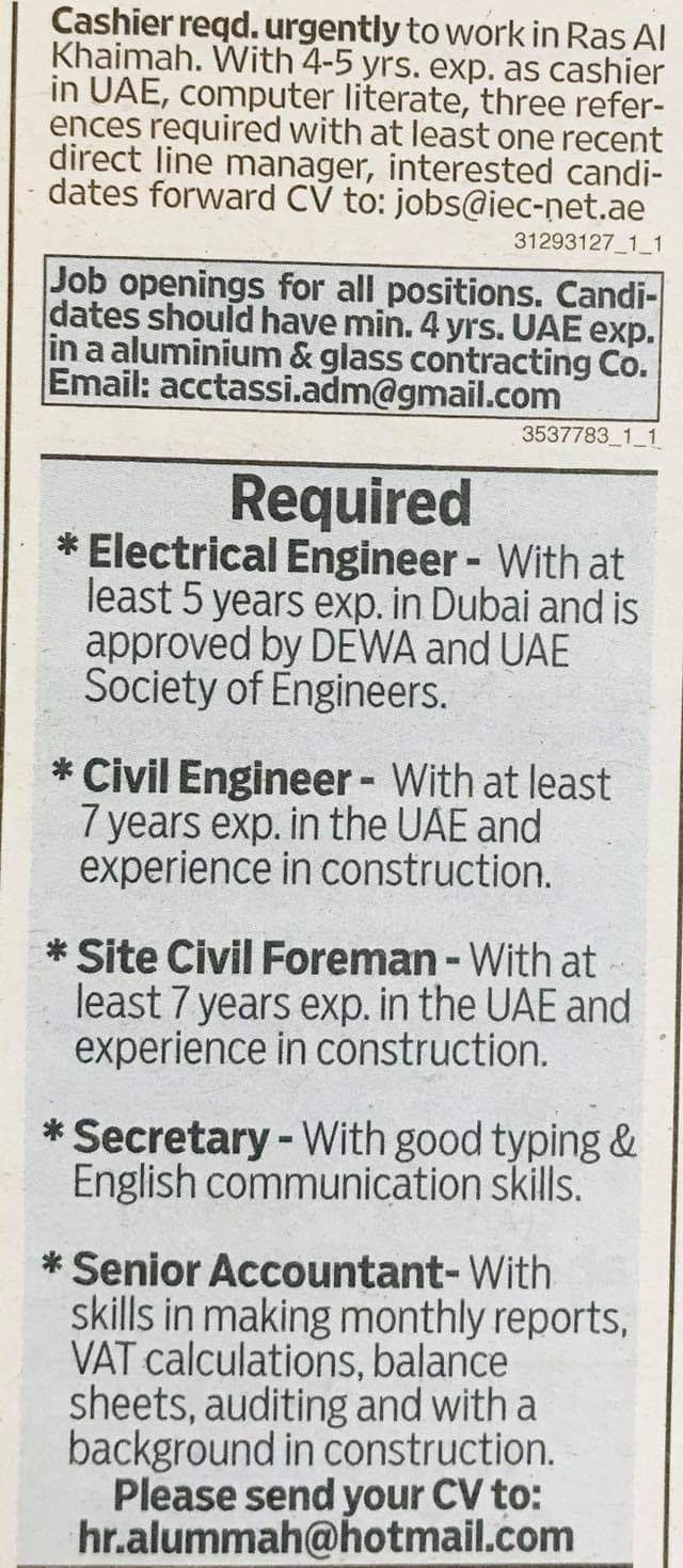 Required Engineers,Foreman,secretary,accountant,cashier UAE