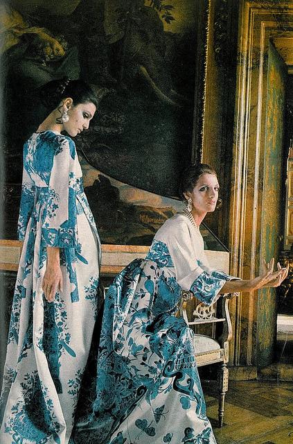 Benedetta Barzini and Mirella Petteni wearing Valentino Photo by Henry Clarke for Vogue, 1968