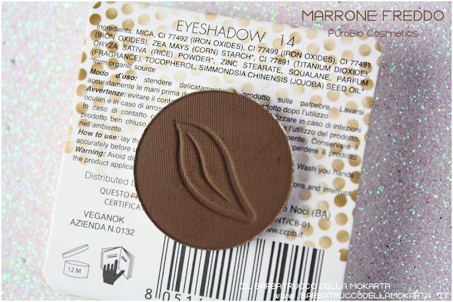 n 14 marrone freddo  recensione INCI ombretto eyeshadow Purobio Cosmetics