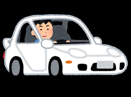 スポーツカーを運転する人のイラスト(男性)