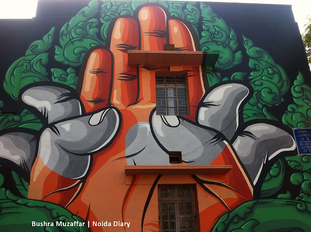 Noida Diary: Padma Mudra painted by French Artist Chifumi at Lodhi Art District in Lodhi Colony, New Delhi