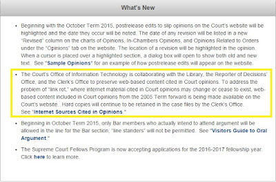 "Image of ""What's New"" section on Supreme Court Website"