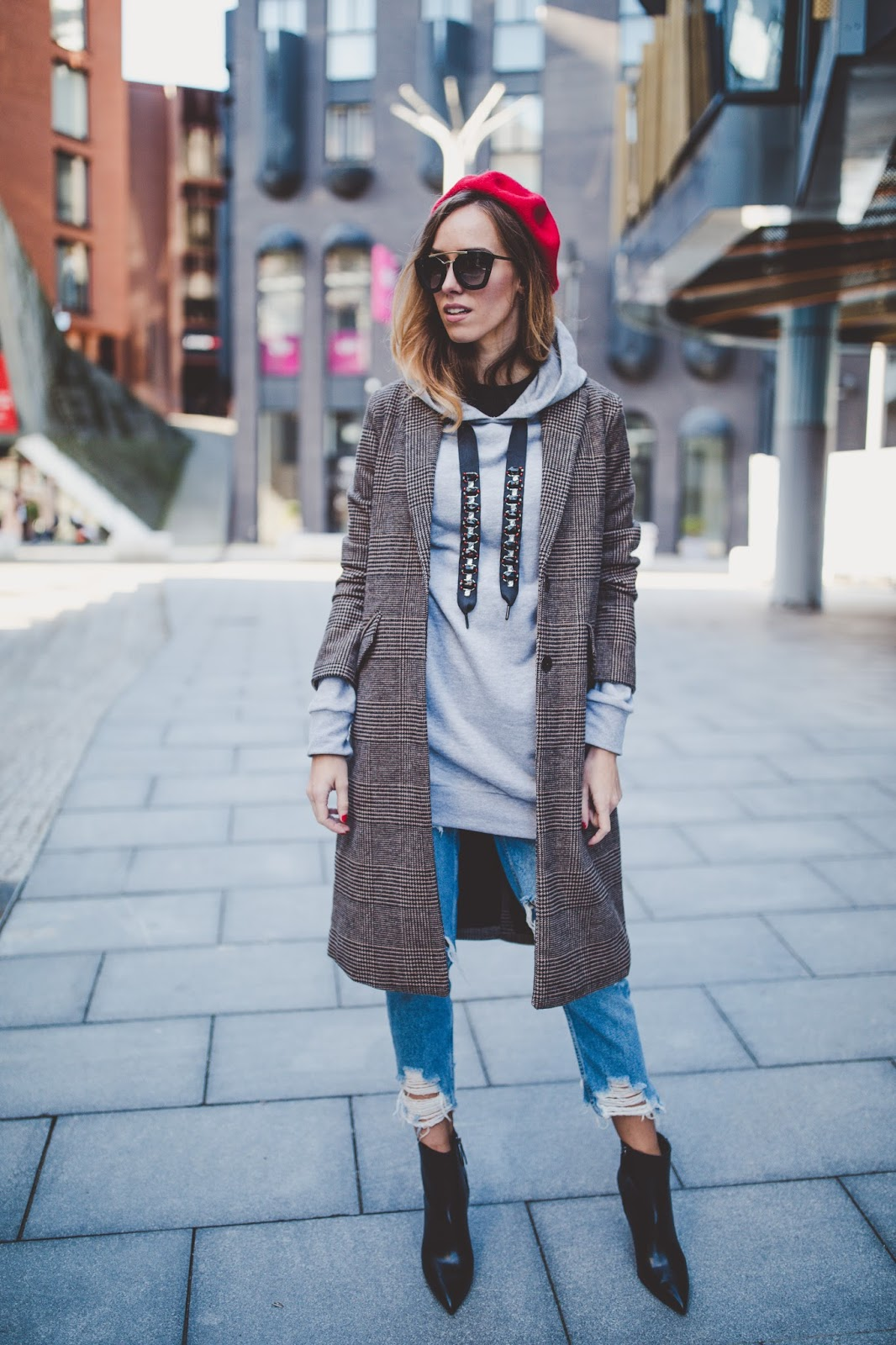 plaid coat sweatshirt outfit fall
