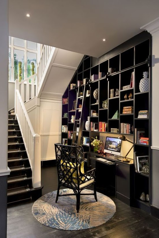 Safari Fusion blog | Library style | Under stairs library and office nook at the boutique hotel Cape Cadogan [Cape Town], South Africa