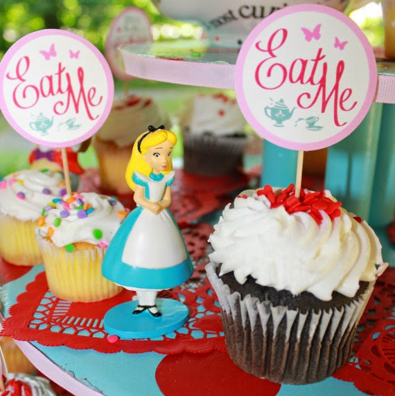 Alice In Wonderland Favor Tags or Cupcake Toppers eat me take me drink me pink blue teacups butterflies