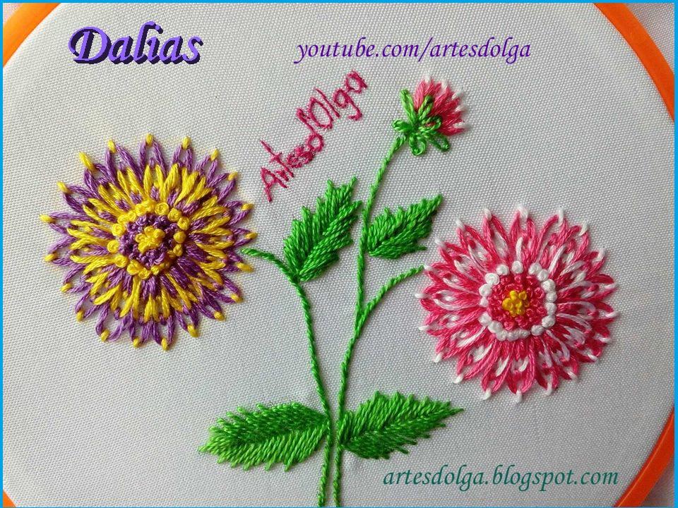 Artesd\'Olga: Dalias bordadas a mano   Dahlia Flower Embroidery ...
