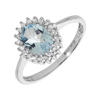 White Gold Aquamarine & Diamond Cluster Ring