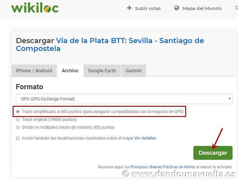 Formatos disponibles para descargar track desde Wikiloc para pasar a Garmin