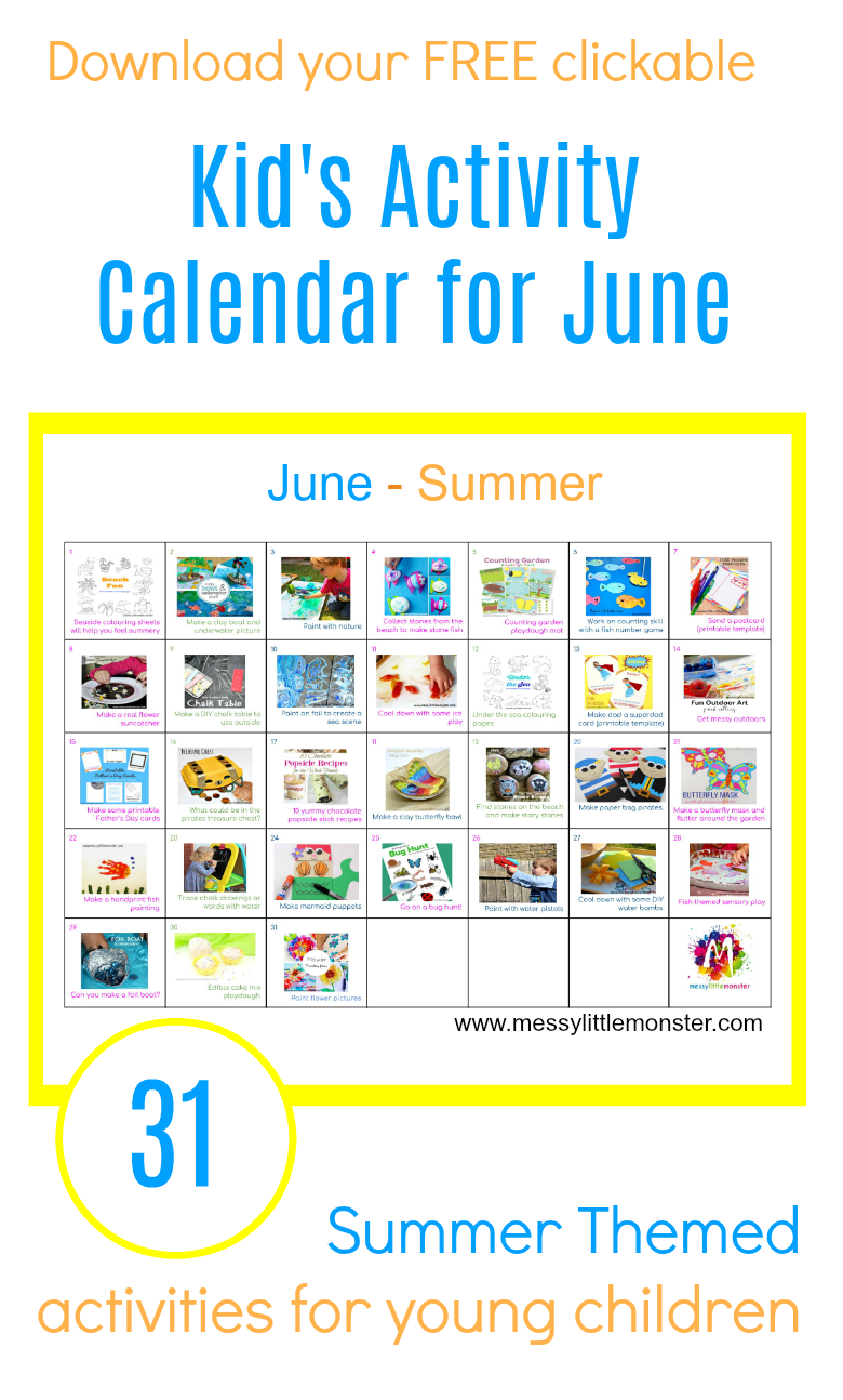 Summer Activity Calendar for kids - 31 fun summer themed ideas for toddlers, preschoolers and older kids.