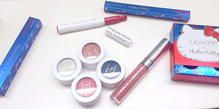 hello kitty x colourpop collaboration ultra satin lip in tiny chum, lippie stix in konnichiwa, supershock eyeshadow in friendship file and small gift haul, review and swatches mama's apple pie