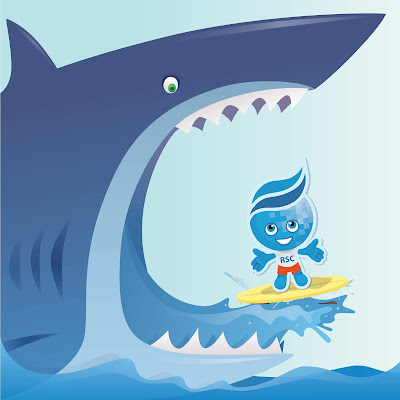 Rio Salado Splash Mascot riding a surf board in the mouth of a very large shark.