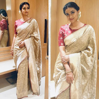 Keerthy Suresh in Saree with Cute and Lovely Smile for Going to Tsr Tv9 Awards