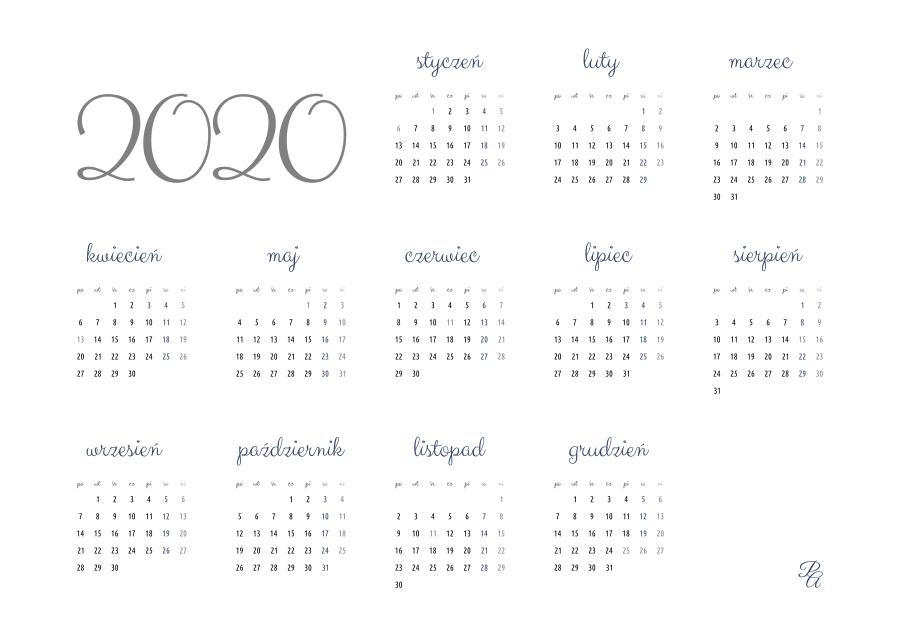 kalendarz 2020 kolor