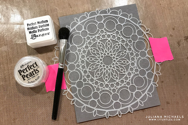 Ranger Ink Letter It™ Perfect Pearls with a stencil