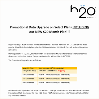 H2O $20 Plan and Bonus Data Promotion