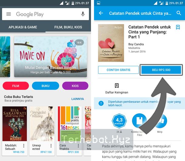 cara membeli buku lewat google play store