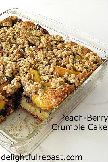 Peach-Berry Crumble - a cake and a fruit crumble all in one / www.delightfulrepast.com