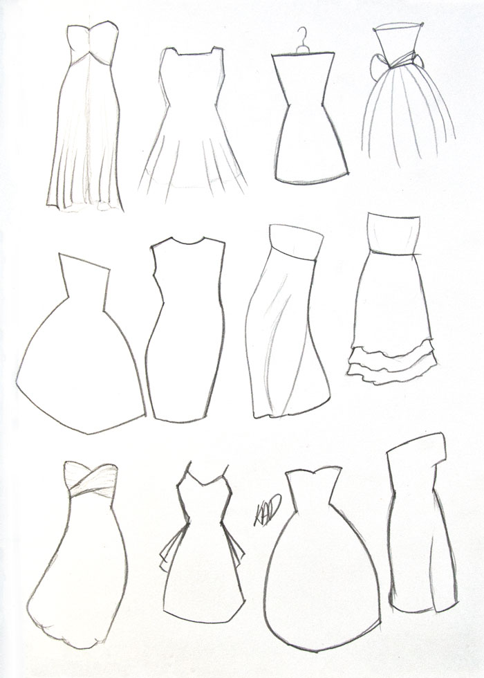 Different Dresses outlines by Kim Dellow