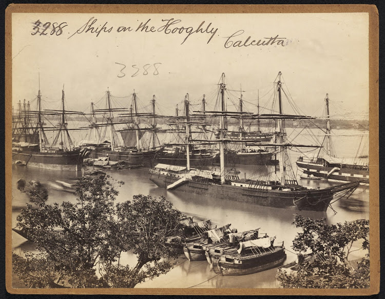 Ships on the Hooghly River, Calcutta (Kolkata) - Mid 19th Century
